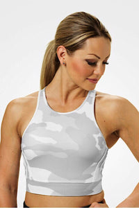 Better Bodies White Camo Chelsea Halter Top