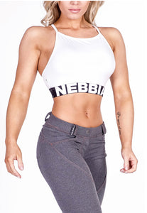 NEBBIA White mini top, bra top, crop top, sports bra, supplex, fitness apparel, fitwear, fitnesswear, athletic apparel, athleticwear, athleisure, workout