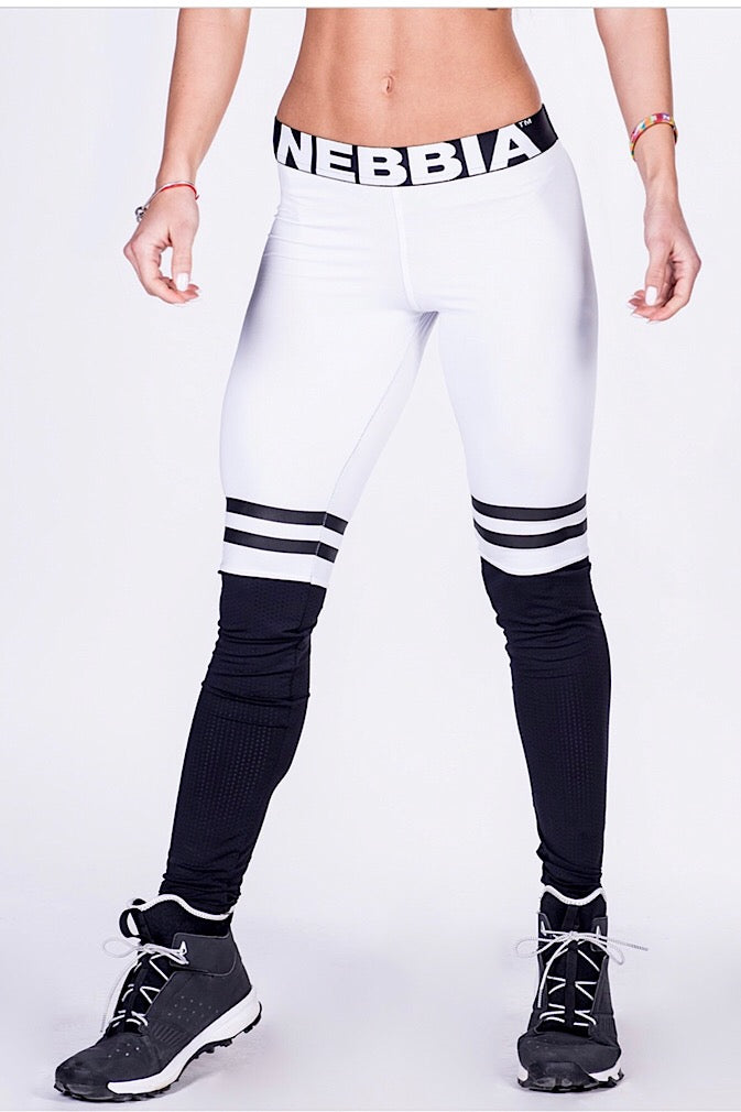 NEBBIA Leggings Over the Knee, Thigh high scrunch butt leggings in White/black