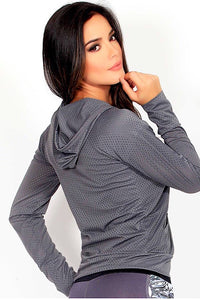 Protokolo Grey Mesh Hoodie, jacket, front zipper, pockets, athleisure, coverup, yoga top, athletic apparel, athletic wear, fitwear, fitness apparel, fitness wear, workout wear, activewear for women
