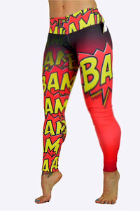Comic strip Leggings made in Columbia with 100% Supplex material. They are fully breathable, moisture wicking, Oder resistant, retain shape, drys faster than cotton. One size fits most.