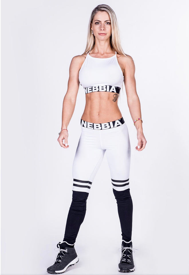 NEBBIA Leggings Over the knee, Thigh High Scrunch Butt in white/black