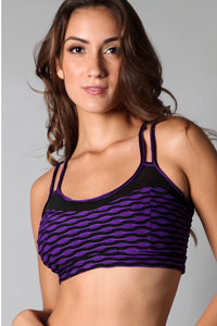 Equilibrium Purple Jacquard Bra Top. DURABLE/ANTI-ABRASION WRINKLE FREE STRETCH-SHAPE RETAIN NON SHRINKING INNER COMPARTMENT HYPOALLERGENIC HARDWARE HAND MADE COMPONENTS FAST DRYING FABRIC: SUPPLEX ENHANCED OXYGENATION COMPRESSION: MEDIUM MOISTURE WICKING BREATHABLE FABRIC ANTI-ODER ANTI-MICROBIAL