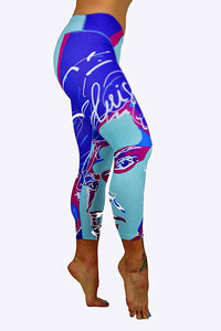 Miami Winwood Art Print Capris made in Columbia with 100% Supplex material. They are fully breathable, moisture wicking, Oder resistant, retain shape, drys faster than cotton. One size fits most.