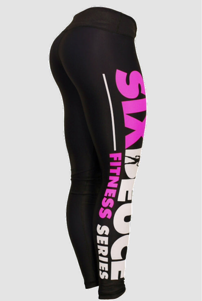 Six Deuce fitness series pink tights, leggings, squat proof leggings, black pink leggings, yoga pants, fitwear, fitness wear, fitness apparel, athletic wear, athletic apparel, athleisure, activewear for women