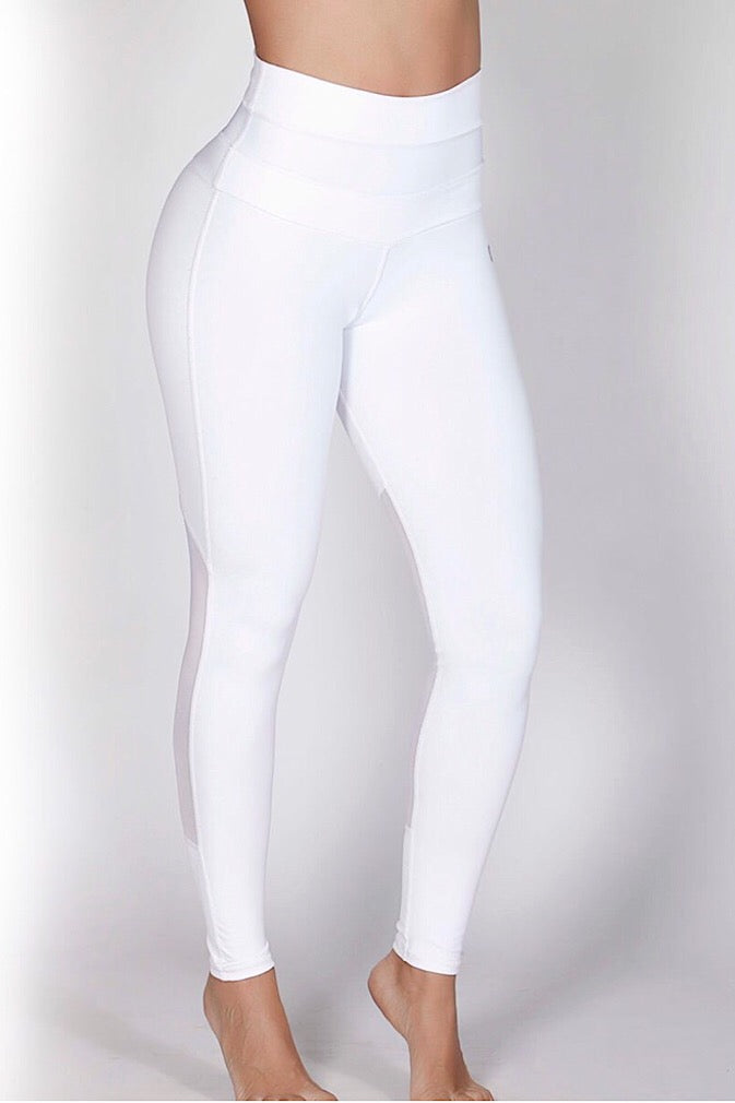 Protokolo HIgh-Waisted White Leggings, squat-proof leggings, yoga pants, workout pants, athletic apparel, athletic wear, fitwear, fitness wear, fitness apparel, athleisure, activewear for women, supplex