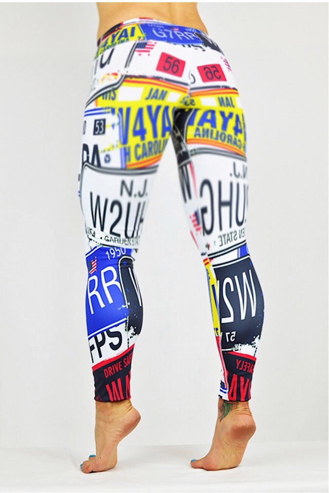 License Plates Print Leggings made in Columbia with 100% Supplex material. They are fully breathable, moisture wicking, Oder resistant, retain shape, drys faster than cotton. One size fits most.