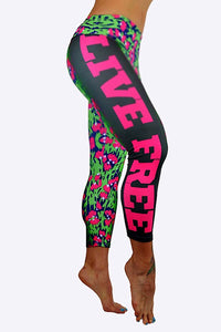 LIVE FREE Print Capris made in Columbia with 100% Supplex material. They are fully breathable, moisture wicking, Oder resistant, retain shape, drys faster than cotton. One size fits most.