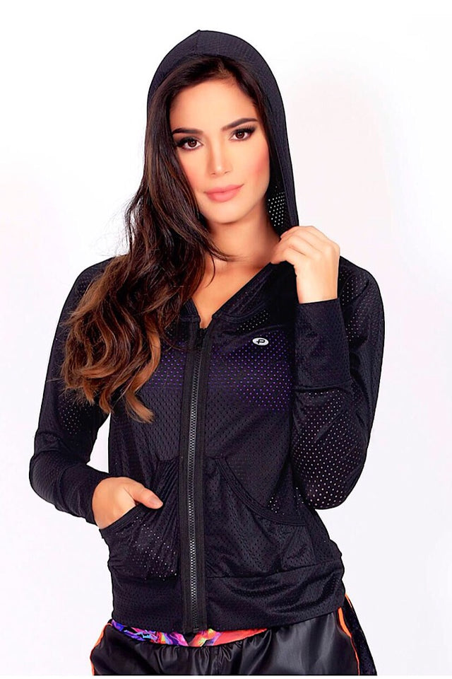 Protokolo Black Mesh Jacket. Hoodie, Jacket, athleisure, athleticwear, athletic apparel, fitwear, fitnesswear, fitness apparel, coverup, activewear