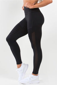 Ryderwear Black Apex tights, high performance tights, ventilation mesh panels, tummy tucking waistband, four-way stretch, moisture wicking, squat proof leggings, activewear for women, fitwear, fitness wear, fitness apparel, athletic wear, athletic apparel, athleisure, workout wear