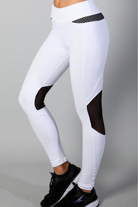 Equilibrium White/Black Mesh Leggings. DURABLE/ANTI-ABRASION WRINKLE FREE STRETCH-SHAPE RETAIN NON SHRINKING INNER COMPARTMENT HYPOALLERGENIC HARDWARE HAND MADE COMPONENTS FAST DRYING FABRIC: SUPPLEX ENHANCED OXYGENATION COMPRESSION: MEDIUM MOISTURE WICKING BREATHABLE FABRIC ANTI-ODER ANTI-MICROBIAL