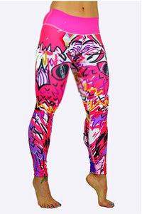 Graffiti Print Leggings made in Columbia with 100% Supplex material. They are fully breathable, moisture wicking, Oder resistant, retain shape, drys faster than cotton. One size fits most.