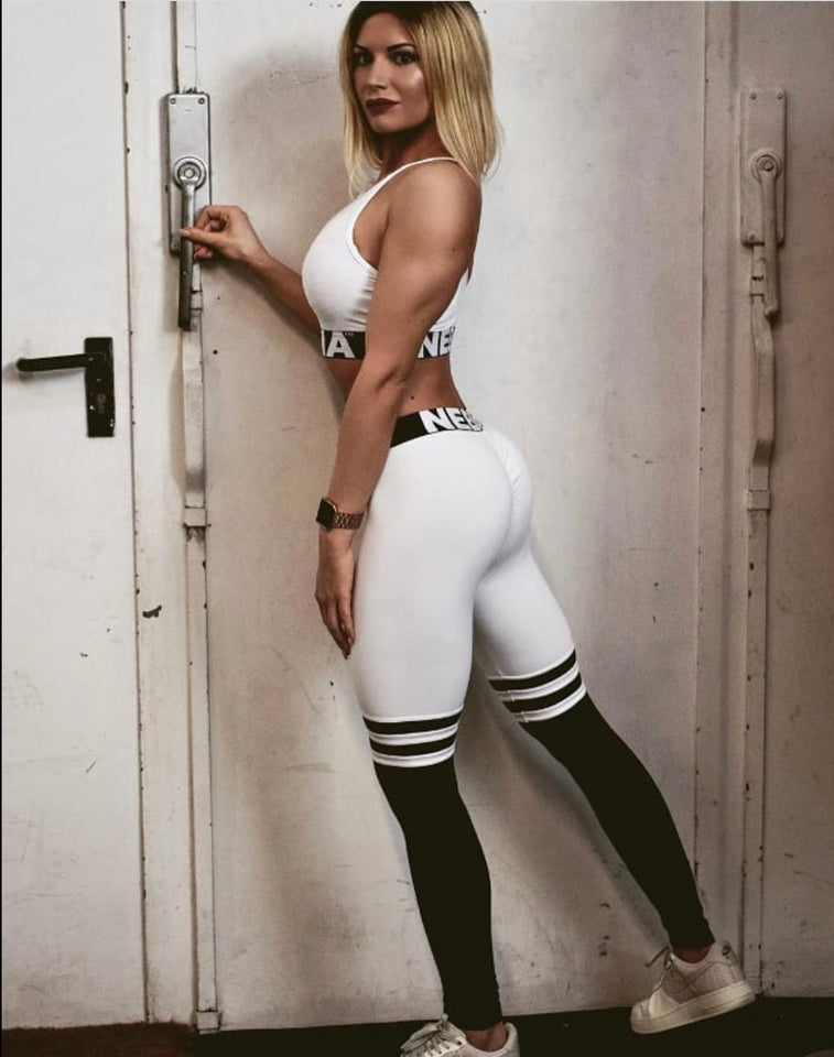 NEBBIA, Leggings Over the Knee, Thigh High Scrunch Butt in White/Black