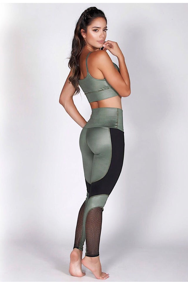 Protokolo Earth-toned green leggings, high Waist leggings, squat proof leggings, athletic wear, activewear, athletic apparel, fitness wear, fitness apparel, fitwear, athleisure, mesh leggings