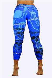 Blue Skulls Print capris made in Columbia with 100% Supplex material. They are fully breathable, moisture wicking, Oder resistant, retain shape, drys faster than cotton. One size fits most.