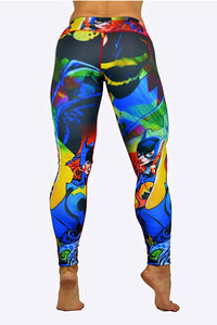 Batgirl Superhero Leggings made in Columbia with 100% Supplex material. They are fully breathable, moisture wicking, Oder resistant, retain shape, drys faster than cotton. One size fits most.