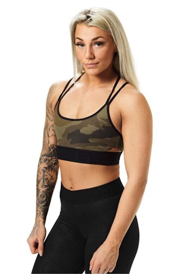 Better Bodies Dark Green Camo Astoria Sports Bra
