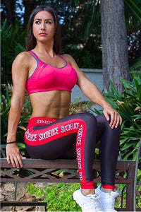 Six Deuce caution Tape fitness tights, leggings, red and black leggings, squat proof leggings, yoga pants, workout wear, fitness wear, fitness apparel, athletic wear, athletic apparel, athleisure, activewear