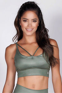 Protokolo earth-toned green bra top, sports bra, strapy top, crop top, fitwear, fitness wear, athletic wear, athletic apparel, athleisure, activewear, medium support