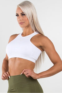 Ryderwear White Siren Crop Top, medium support bra top, sports bra, racer back design, four-way stretch, moisture wicking, athletic wear, athletic apparel, fitwear, fitness apparel, fitness wear, athleisure, workout top, activewear for women