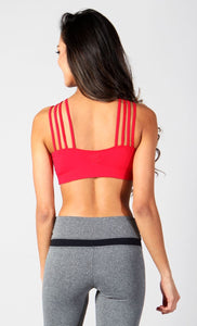 Equilibrium Bra Top T439. DURABLE/ANTI-ABRASION WRINKLE FREE STRETCH-SHAPE RETAIN NON SHRINKING INNER COMPARTMENT HYPOALLERGENIC HARDWARE HAND MADE COMPONENTS FAST DRYING FABRIC: SUPPLEX ENHANCED OXYGENATION COMPRESSION: MEDIUM MOISTURE WICKING BREATHABLE FABRIC ANTI-ODER ANTI-MICROBIAL