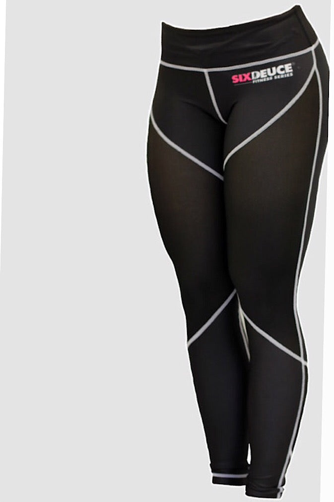 Six Deuce Mesh-Tech White Stitching, mesh leggings, all black leggings, semi compression, squat proof leggings, fit wear, fitness wear, fitness apparel, athletic wear, athletic apparel, athleisure, workout pants, yoga pants, activewear for women