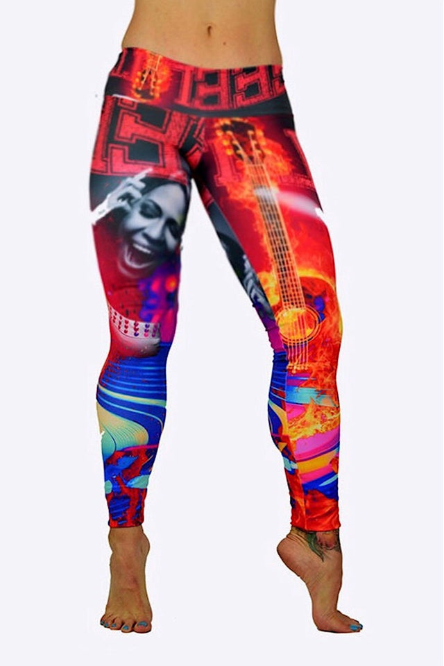 Rock-n-Roll Print Leggings made in Columbia with 100% Supplex material. They are 100% Squatproof and fully breathable, moisture wicking, Oder resistant, retain shape, drys faster than cotton. One size fits most.