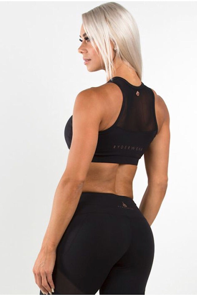 Ryderwear Black Siren Crop Top, medium support bra top, sports bra, racer back design, four-way stretch, moisture wicking, athletic wear, athletic apparel, fitwear, fitness apparel, fitness wear, athleisure, workout top, activewear for women