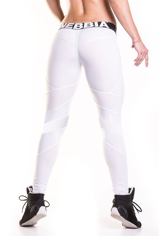 NEBBIA White Network Leggings, scrunch butt, supplex, fitwear, fitnesswear, athletic wear, athletic apparel, athleisure, workout,