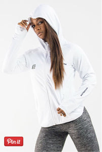 Six Deuce All White Hoodie, Jacket, thumbholes, front zipper, coverup, activewear for women, fitwear, fitness wear, fitness apparel, athletic apparel, athletic wear, athleisure, workout wear