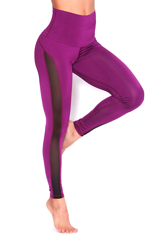 Protokolo HIgh-Waisted Wine Slash Leggings with black Mesh, squat-proof leggings, yoga pants, workout pants, athletic apparel, athletic wear, fitwear, fitness wear, fitness apparel, athleisure, activewear for women, supplex