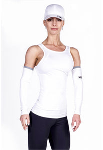 Nebbia White Cutaway Fitness Top.