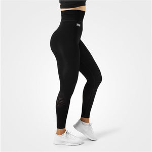 Better Bodies Bowery High Tights, Black. High waist, double folded rib waistband, knitted mesh holes on the back of the lower leg, full length, smooth and silky to the touch.