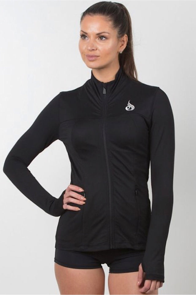 Ryderwear Black Extend Jacket, brushed jersey, fitted design, smooth front zip, thumb holes, four-way stretch, coverup, yoga top, athletic wear, athletic apparel, fitwear, fitness wear, fitness apparel, athleisure, activewear for women