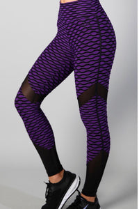Equilibrium Purple Jacquard Leggings. DURABLE/ANTI-ABRASION WRINKLE FREE STRETCH-SHAPE RETAIN NON SHRINKING INNER COMPARTMENT HYPOALLERGENIC HARDWARE HAND MADE COMPONENTS FAST DRYING FABRIC: SUPPLEX ENHANCED OXYGENATION COMPRESSION: MEDIUM MOISTURE WICKING BREATHABLE FABRIC ANTI-ODER ANTI-MICROBIAL