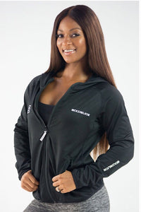 Six Deuce All Black Hoodie, Jacket, thumbholes, front zipper, coverup, activewear for women, fitwear, fitness wear, fitness apparel, athletic apparel, athletic wear, athleisure, workout wear