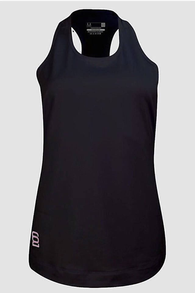 Six Deuce Black Tank top, long top, racer back, fitwear, fitness wear, fitness apparel, athletic wear, athletic apparel, activewear for women, athleisure