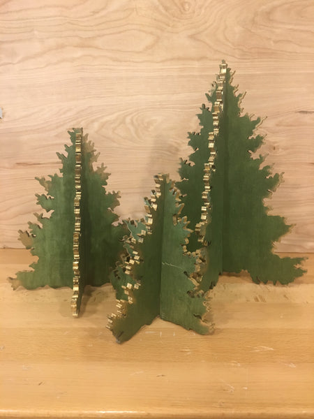 Laser Cut Trees - Gold Trim