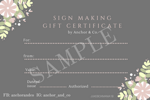 Sign Making Workshop - Gift Card