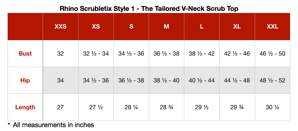 Rhino Scrubletix Style 1 V-Neck Scrub Top Sizing Guide