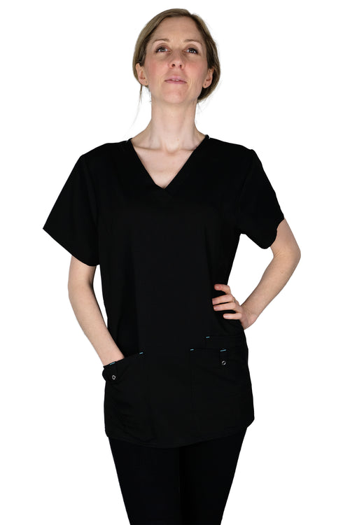 The Premium Flex Stretch V-Neck Scrub Top - Black - Rhino Scrubletix Style 14