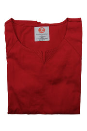 The Curved V-Slit Neckline Scrub Top - Red - Rhino Scrubletix Style 4