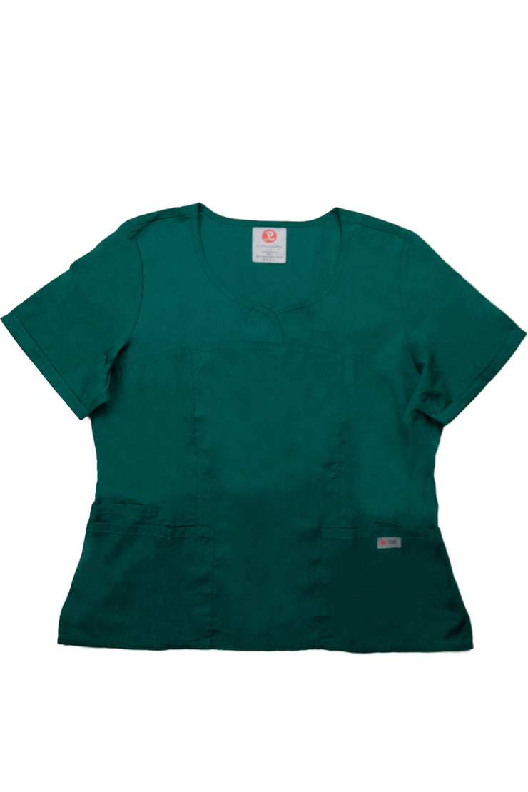 The Crossover Curved Scoop V-Neck Scrub Top - Forest Green - Rhino Scrubletix Style 6