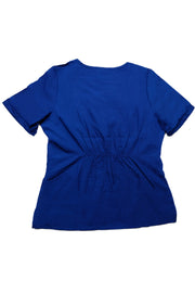 The Crossover Curved Scoop V-Neck Scrub Top - Indigo - Rhino Scrubletix Style 6