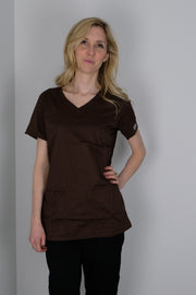 The Tailored V-Neck Scrub Top - Coffee - Rhino Scrubletix Style 1