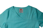 The Tailored V-Neck Scrub Top - Aqua - Rhino Scrubletix Style 1