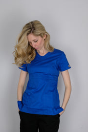 The Contemporary Fitted Curved V-Neck - Royal Blue - Rhino Scrubletix Style 3