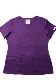 The Contemporary Fitted Curved V-Neck Scrub Top - Eggplant - Rhino Scrubletix Style 3