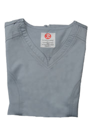The Contemporary Fitted Curved V-Neck Scrub Top - Light Grey - Rhino Scrubletix Style 3