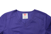 The Contemporary Fitted Curved V-Neck Scrub Top - Purple - Rhino Scrubletix Style 3